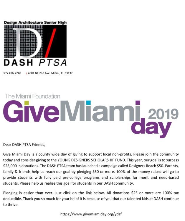 DASH Give Miami Day 2019 Campaign Letter